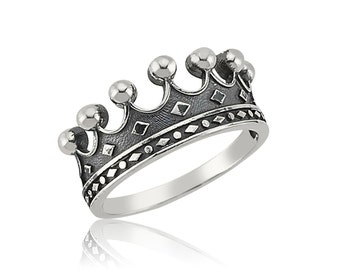 Crown Ring, Crown Mens Ring, Sterling Silver Crown Mens Ring, 925 Sterling Silver Mens Ring
