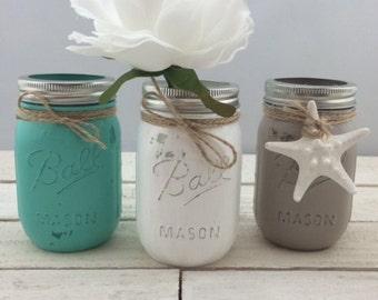 Set Of Three Mason Jars-Three Mason Jars-Distressed Mason Jars