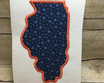 Illinois Applique, Illinois Embroidery Design Applique