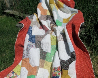 Country Patchwork Quilt Calico Prairie Print Vintage Handmade Picnic Blanket Throw Twin-Size