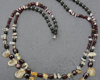 Citrine and garnet necklace