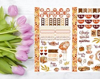 Autumn Beauty Personal Planner Sticker Kit, Orange, Brown
