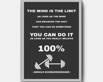 Fitness Motivational Poster - The Mind Is The Limit - Arnold Schwarzenegger