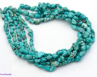 """Blue, Green, Natural TURQUOISE Nugget Beads, 4mm - 13mm, 16"""" Full Strand Gemstones Beads, GS01TQ-11"""