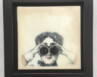 Look to the Future! Encaustic beeswax painting, original painting