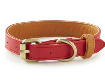 Coronado Red Leather Dog Collar