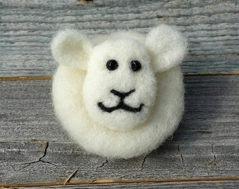 Needle Felted Sheep Pin with Glass Bead Eyes