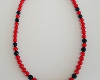 Vintage Monet Beaded Necklace Red and Black Strand of Beads