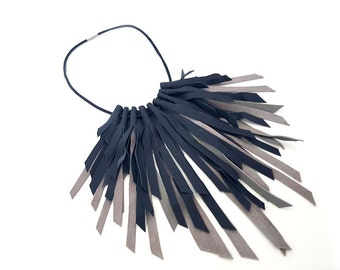 Leather Bib Necklace, Bib Necklace, Fringe Necklace, Statement Necklace