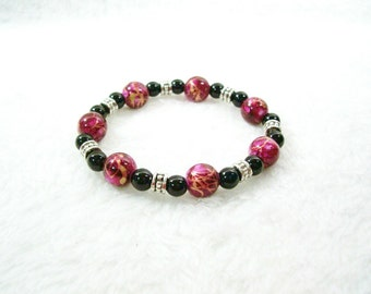 Stretch Bracelet, Purple Bracelet, Black Pearl Bracelet, Black Pearls, Silver Bracelet, Purple, Black, Silver, Metal, Acrylic Beads, Pearls