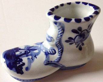 Vintage Delft Porcelain Boot Figurine Hand Painted 1970's Holland