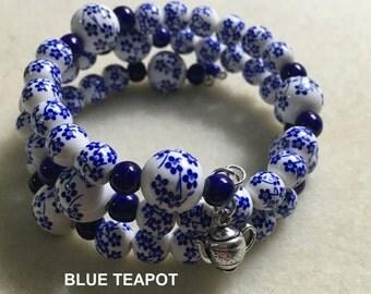 Blue Teapot Wrap Bracelet