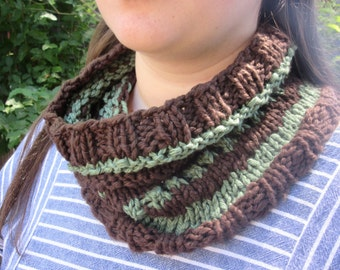 Handknit Cotton Cowl in Brown and Green