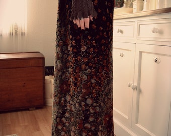 VELVET GARDEN, vintage Maxi skirt, velvet, S M