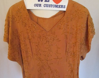 1940s Orange rayon top with elaborate beading damaged