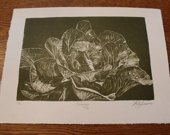Cabbage - Green & Warm White - Lithograph