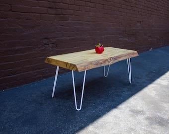 Live Edge Pine Bench/Coffee Table White