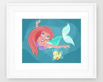 The Little Mermaid - Ariel & Flounder - Illustration Print - 10x8 14x11 19x13 20x16