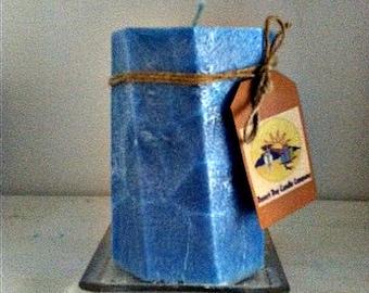 Blue Palm Wax Pillar Candles