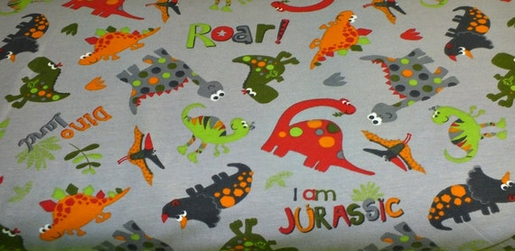 Cotton jersey dinoland dinosaur of dinosaurs grey coloured for Grey dinosaur fabric