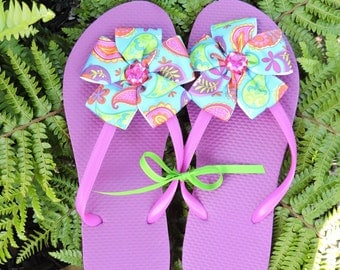 purple flops with paisley ribbon flower