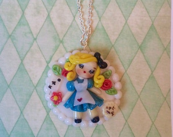 Necklace Kawaii Alice in Wonderland - maize dough - Handmade by Letyobaachan