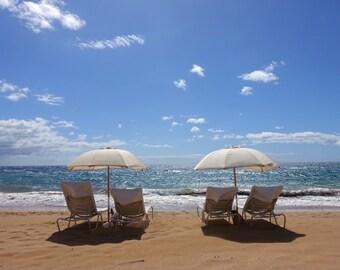 Beach umbrella photo print