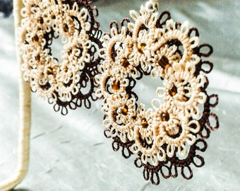 Tatting Lace earrings, handmade jewelry, gift for her, gift ideas, lace