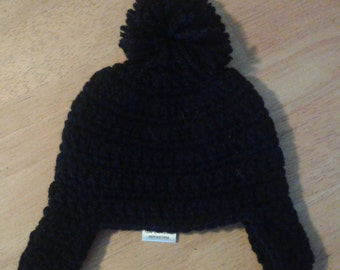 Black Infant Winter Hat with Earflaps