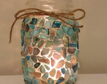 Small Sea Blue Mason Jar Candle holder