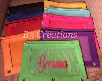 Bolsa personalizada de lápiz, caja de lápiz de 3 anillos, suministros, cremallera lápiz bolsa, Monograma lápiz bolsa, la bolsa de la carpeta de la escuela