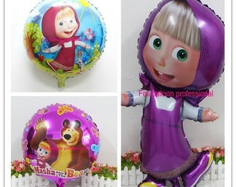 3pcs/lot Masha and bear party Cartoon character martha Foil Balloons birthday Party decorations kids toys