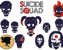 Suicide squad silhouette Svg - Squad Svg - Harley Quinn silhouette svg  -(zipped .eps .pdf .dxf .svg and .studio file) vector cutting files