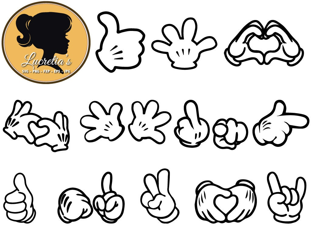 Mickey Hand Love Sign SVG Files Mouse Ears DXF Cut File For
