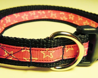 Small Black/Pink Stars Dog Collar