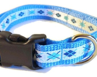 Small Blue/White Argyle Dog Collar