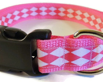 Large Pink/White Argyle Dog Collar