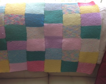Pet blanket hand knit patchwork design
