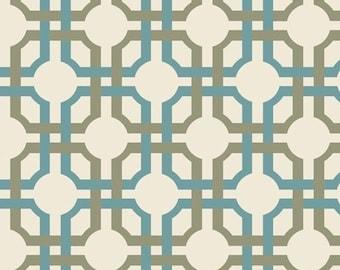 "Geometric Fabric: Waverly fabric - So Chic Aqua Stone INTERLOCKING GRID fabric  100% cotton Fabric by the yard 36""x44""  (C286)"