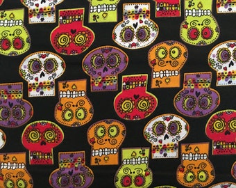 Holiday Fabric: Mexican Holiday Day of the dead - Dia De Los Muertos CALAVERA Sugar skulls fabric  100% cotton Fabric by the YARD  (K192)