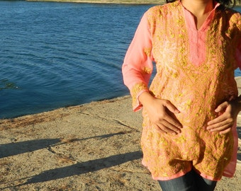 hand embroidered tunic tops/cover up