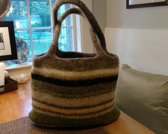 Hand Knit 100% Wool Tote Bag