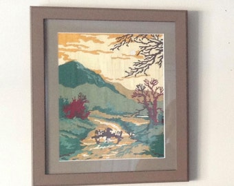 Finished Art framed - Hand made road through the mountains anchor stitch done by Aarti