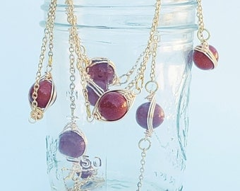 Goldstone Wire Wrapped Necklace