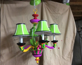 Hand painted one of a kind signed children's chandelier
