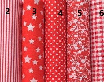 Classical Red Series 100% Cotton Fabric Per fat quarter /per Half Meter