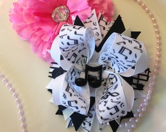 Hair bows,Music notes Hair bow,I love Music,Boutique Hairbows,Boutique bows,Layered Hair bows, Stacked Hair bows