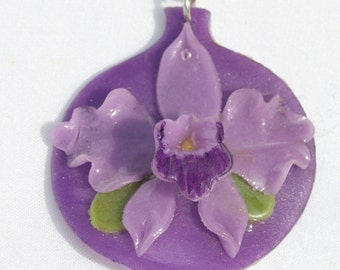Handmade Orchid Necklace Purple
