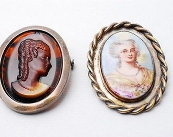 1910s-1940s Vintage Brown Glass cameo & Hand Painted Porcelain brooch