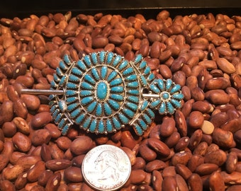 Handcrafted Navajo hairpiece Petit Point